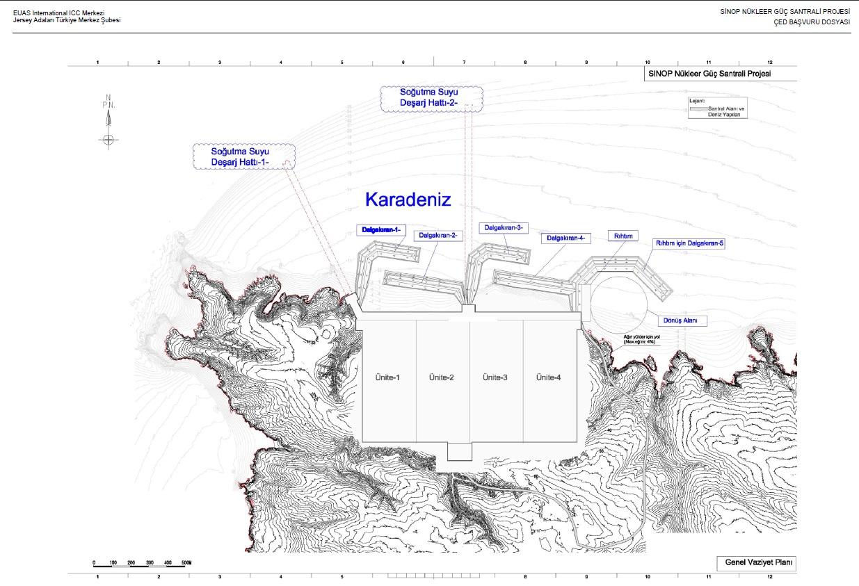 シノップ原発を記した地図(環境影響評価の申請書より)